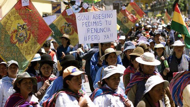 Marchas contra el presidente de Bolivia en octubre de 2003.