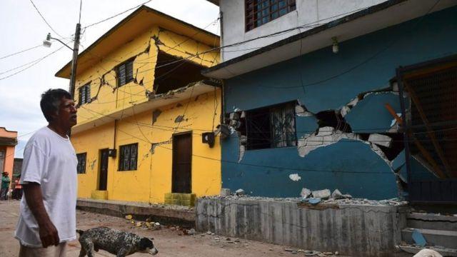 Casas dañadas en Juchitán, Oaxaca