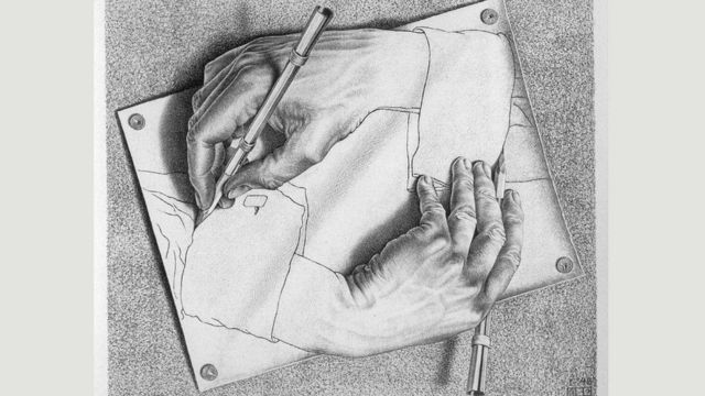 'Drawing Hands' (1948), M. C. Escher