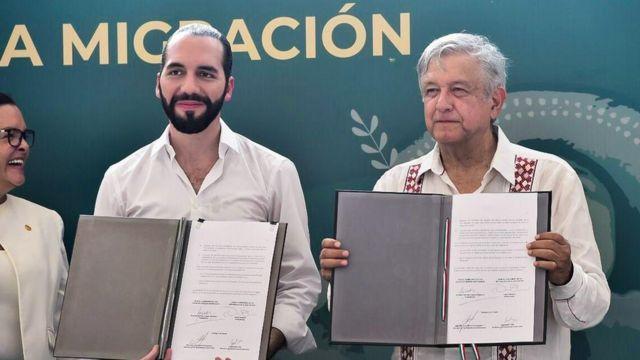 el presidente salvadoreño Nayib Bukele y el presidente mexicano Andrés Manuel López Obrador