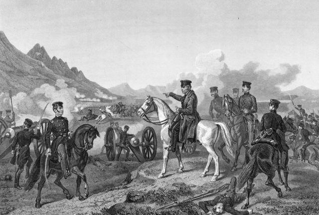 Zacarias Taylor dirige a sus tropas en la batalla de Buena Vista, durante la guerra entre México y Estados Unidos (1846-1848).