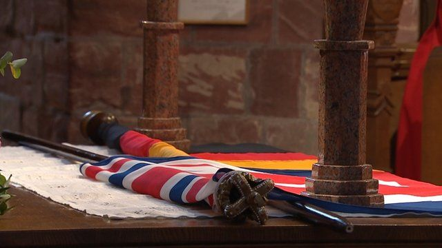 British and German flags in St Magnus Cathedral