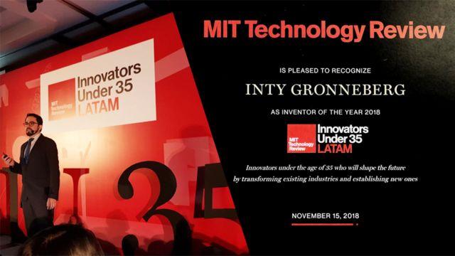 Inty Gronneberg recibiendo el premio de inventor del año