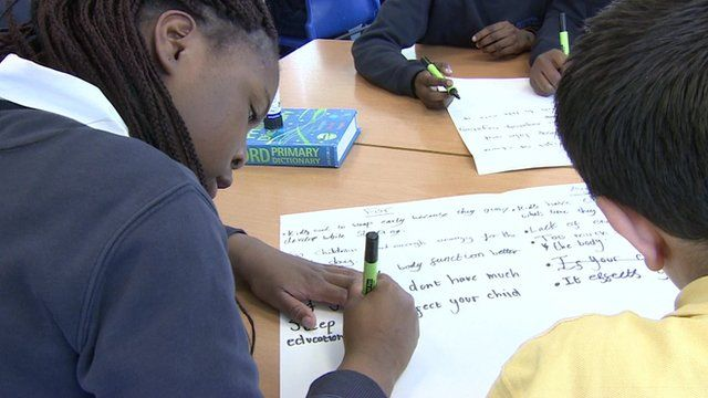 Pupils writing in lesson