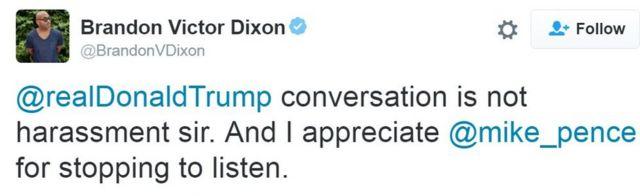 ब्रैंडन विक्टर डिक्सन का ट्वीट