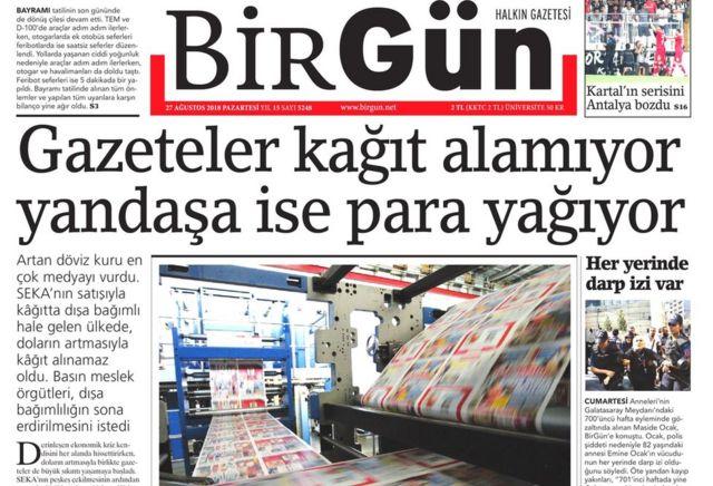BirGün, gazetelerin yaşadığı sorunu Pazartesi manşetine taşımıştı