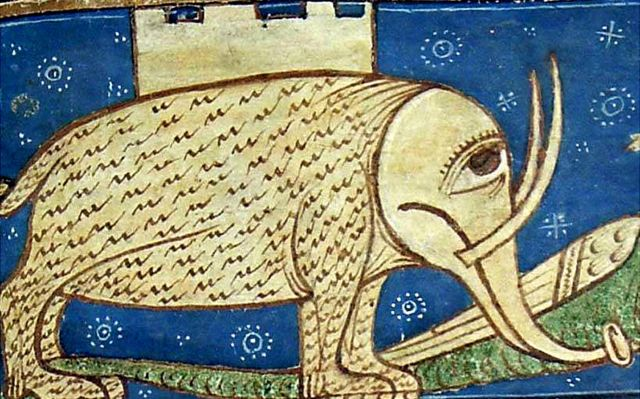 un elefante, como éste del Bestiario Divino de Guillaume le Clerc.
