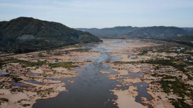 This aerial photo taken on October 31, 2019 shows Mekong River in Pak Chom district in the northeastern Thai province of Loei with Laos side seen at right.