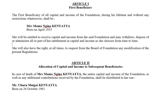 Document grab showing president Kenyatta is listed as inheritor of a secret foundation