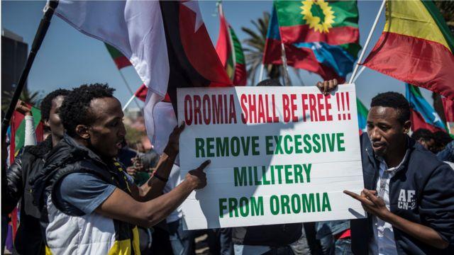 Des manifestants Ethiopiens