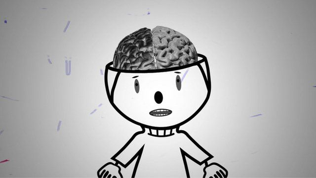 Cartoon of a boy with a bilingual brain