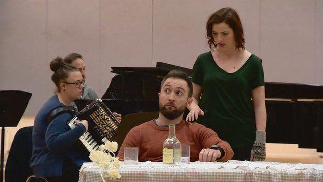 Scene from opera 'Hirta'