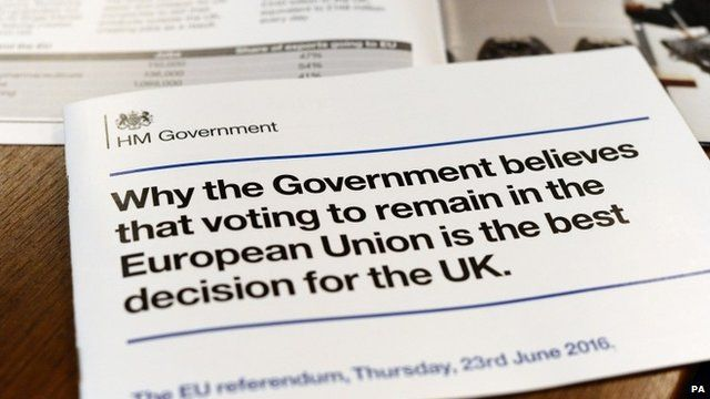 Government leaflet about the EU referendum