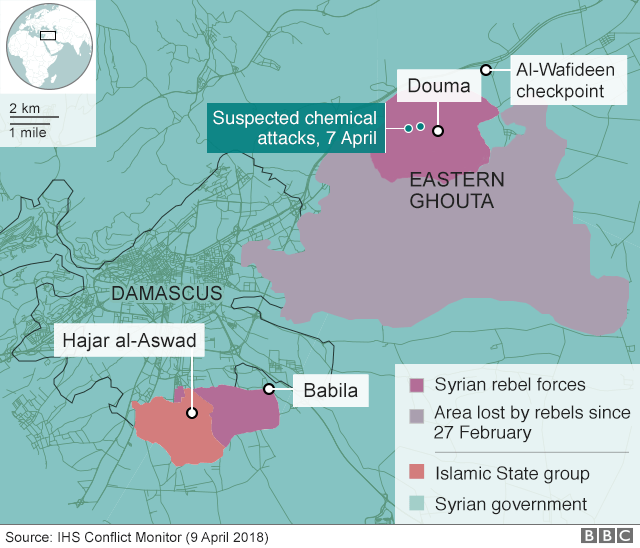 Map showing control of Eastern Ghouta, Syria, and locations of suspected chemical attack on 7 April 2018