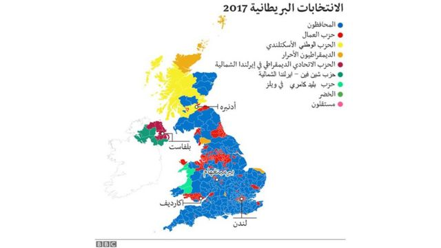 خريطة بنفوذ الأحزاب البريطانية