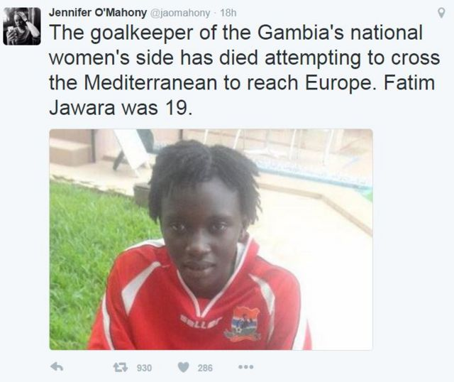 Sakon Twitter dauke da hoton Fatim Jawara