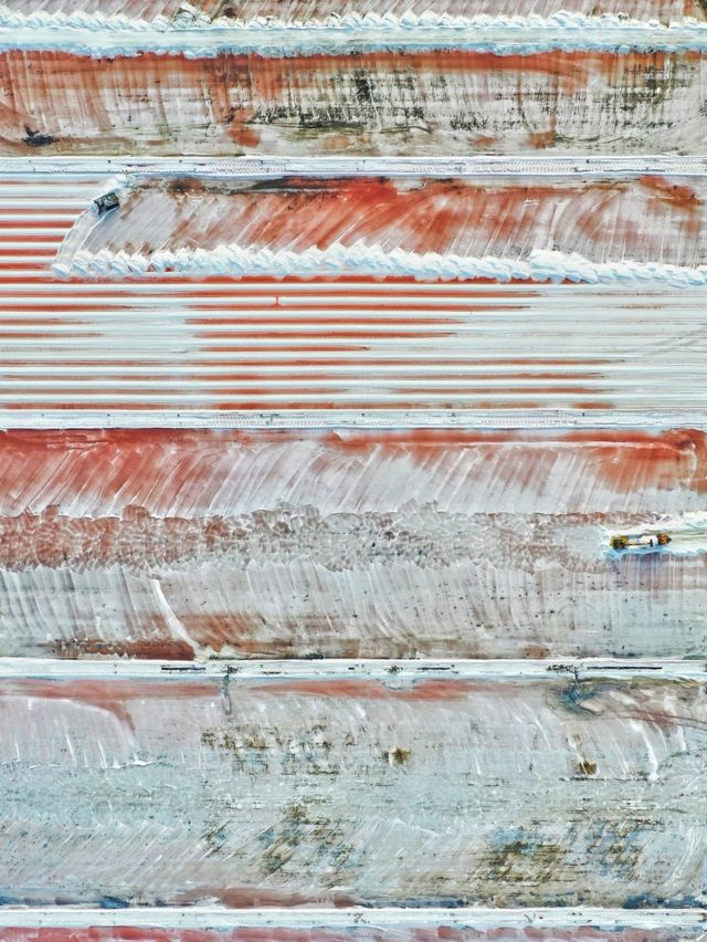 An aerial view showing a saltworks in France