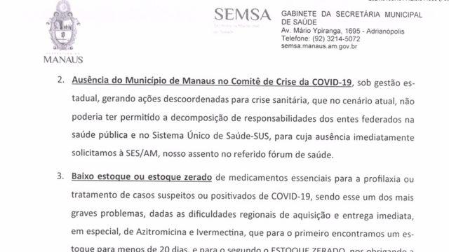 """ofício enviado em 14 de janeiro ao Ministério da Saúde pela Secretaria de Saúde de Manaus diz que ivermectina e azitromicina são """"medicamentos essenciais"""" para tratar covid-19"""