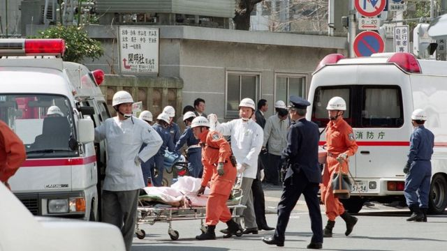 Images from rescue teams treating victims at Tsukiji subway station in Tokyo, following a sarin gas attack by doomsday cult Aum Supreme Truth (Aum Shinrikyo).