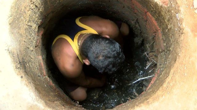 Man in Mumbai sewer