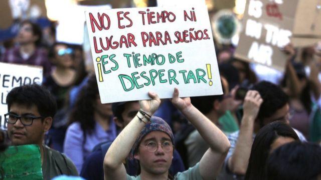Protesta en Santiago de Chile.