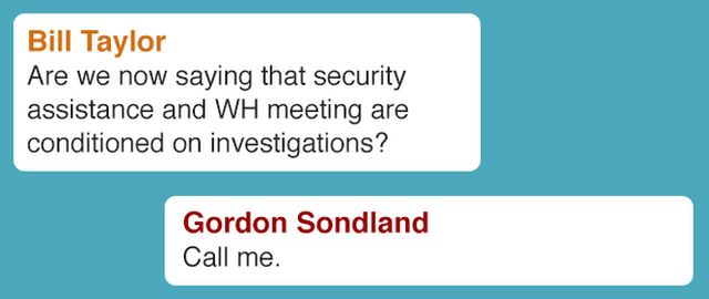 "Text message from Bill Taylor asks: ""Are we now saying that security assistance and WH meeting are conditioned on investigations? Text message from Gordon Sondland replies: ""Call me."""