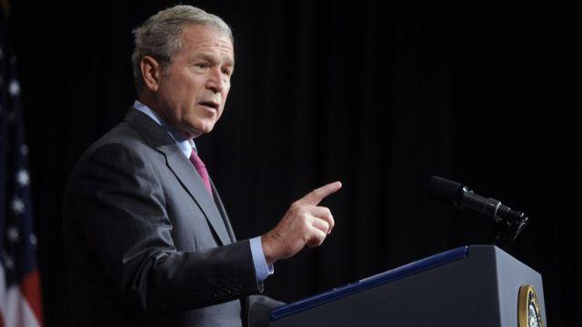 George Bush ariko arashikiriza ijambo kuri Irak i Washington