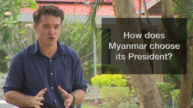 Jonah Fisher with graphic saying 'How does Myanmar choose its President'