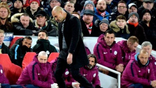 Pep Guardiola yatsiznwe bikomeye ku nshuro ya mbere muri Champions League nk'umutoza wa manchester City