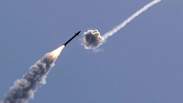 El Domo de Hierro interceptando un misil de Hamás.