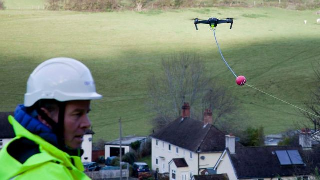 Cable-laying drone wires up remote Welsh village