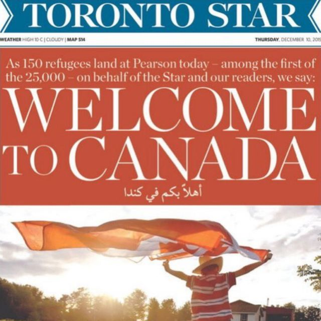 """Toronto Star cover reading """"Welcome to Canada"""""""