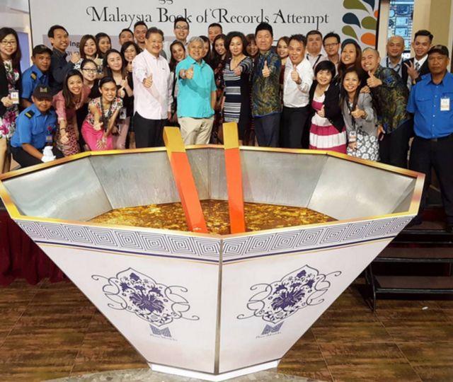 Giant bowl with sarawak laksa
