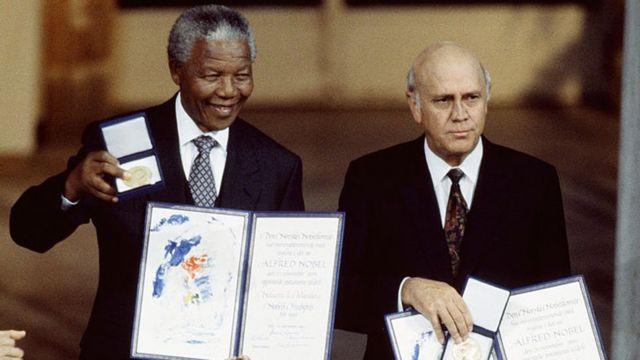 Nelson Mandela and FW de Klerk receive Nobel Peace Prize