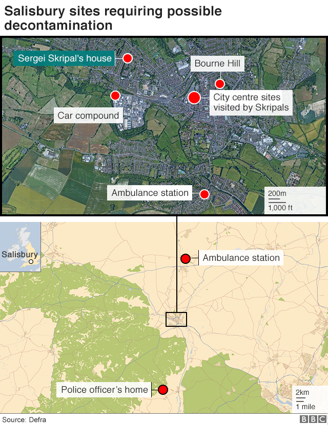 Map of Salisbury showing sites likely to need decontaminating