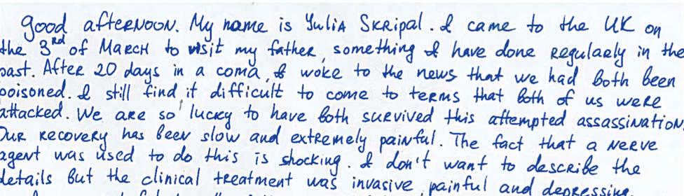 La declaración de Yulia Skripal en inglés.