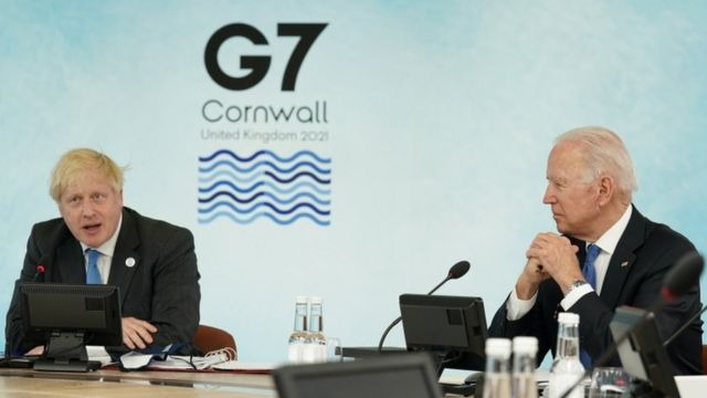 پیشتر بوریس جانسون نخست وزیر بریتانیا و جو بایدن رییس جمهوری آمریکا در نشستی پیرامون بازسازی و احیاء پس از همهگیری شرکت کردند.