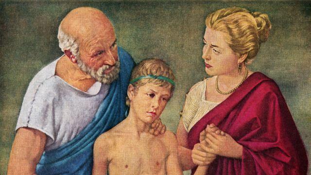Imagen de Hipócrates y su esposa curando a un niño.