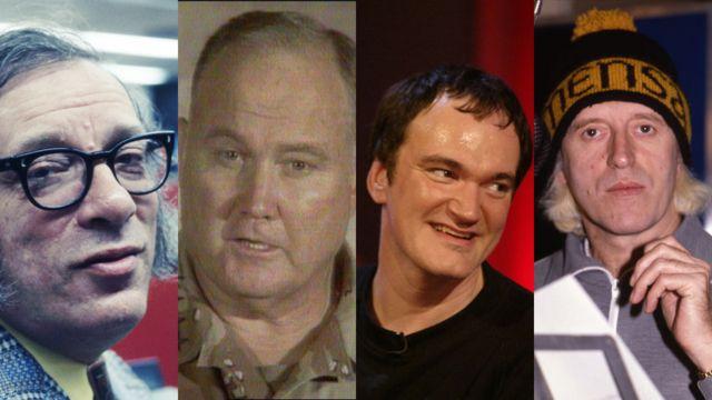 Da esquerda para a direita: Isaac Asimov, Norman Schwarzkopf, Quentin Tarantino, Jimmy Savile