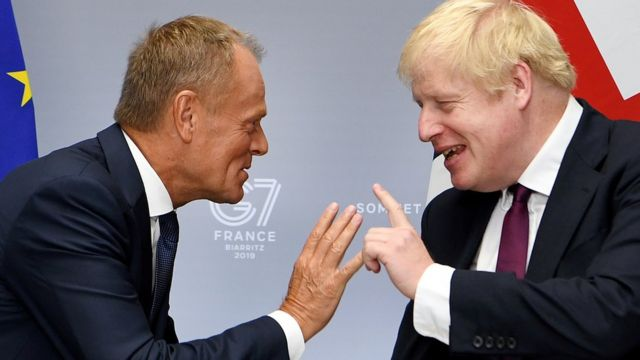 Boris Johnson meets with President of the European Council, Donald Tusk, in August