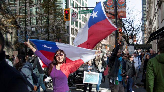 Manifestantes no Chile