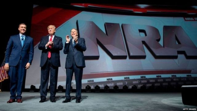 Trump at an event by National Rifle Association