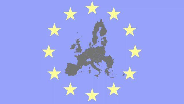 EU flag and map