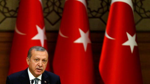 President Erdogan spoke from the presidential palace on Friday