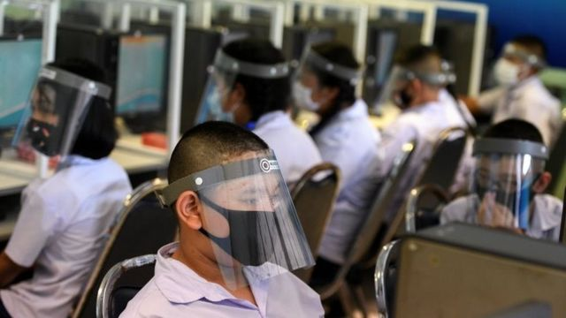 Student on face shield