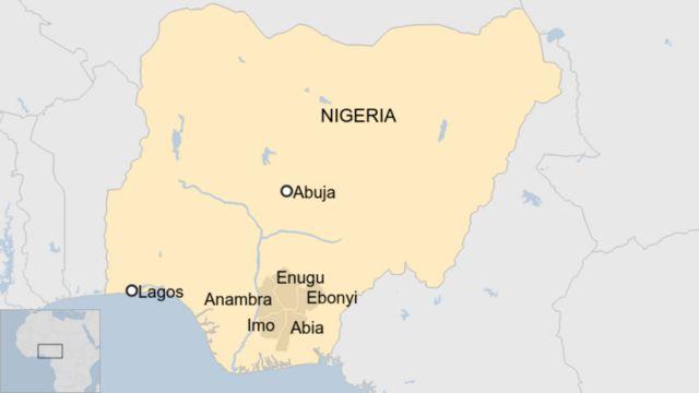 Une carte montrant les États Igbo au Nigeria