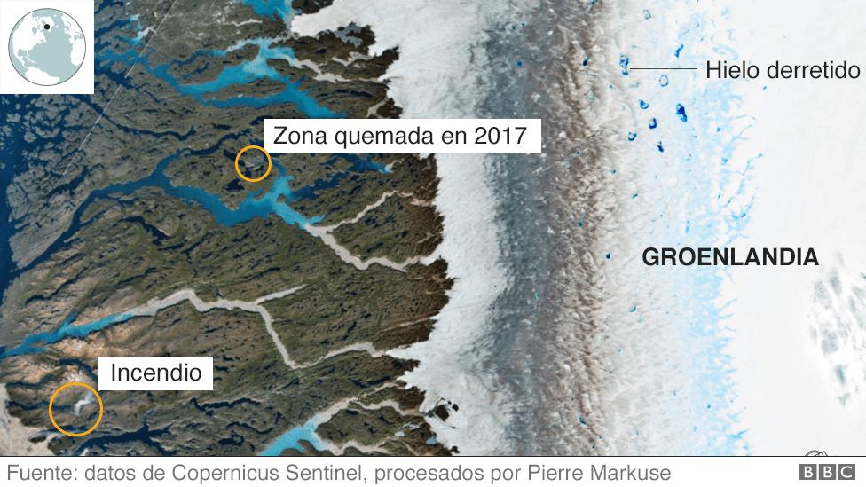 Imagen satelital de la zona quemada en Groenlandia