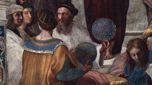 Lukisan Mazhab Athena dari Raphael, yang selesai pada 1511, menampilkan sosok, yang jika dilihat secara detail di lukisan yang lebih besar, banyak dianggap oleh sejarawan adalah Zoroaster, memegang bola dunia.