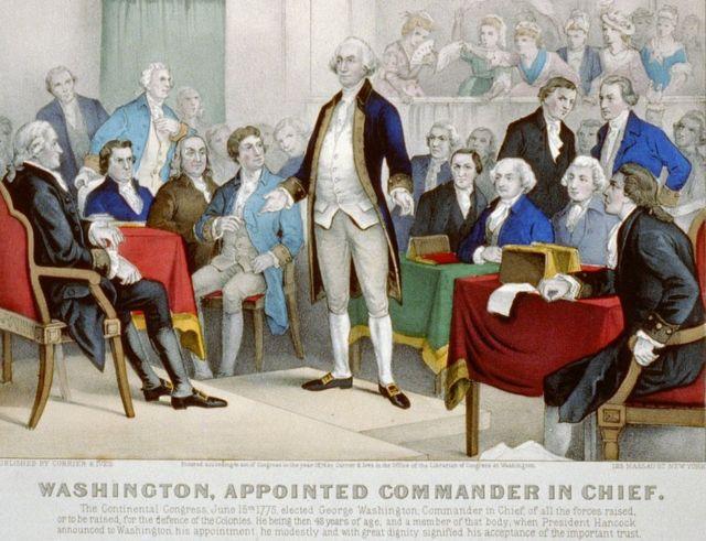 Litografía de 1876 en la que se muestra a George Washington nombrado Comandante en jefe por el Congreso continental en 1775.