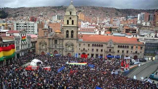 Una concentración política en La Paz